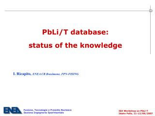 PbLi/T database:  status of the knowledge