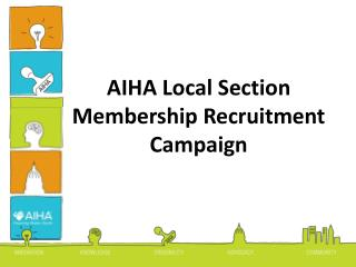 AIHA Local Section Membership Recruitment Campaign