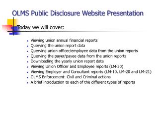 OLMS Public Disclosure Website Presentation