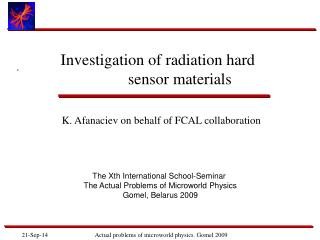 Investigation of radiation hard            sensor materials
