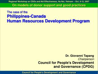 The case of the Philippines-Canada  Human Resources Development Program