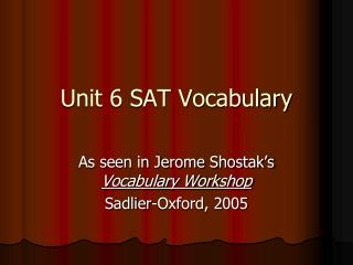 Unit 6 SAT Vocabulary