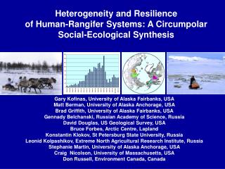 Heterogeneity and Resilience  of Human-Rangifer Systems: A Circumpolar Social-Ecological Synthesis