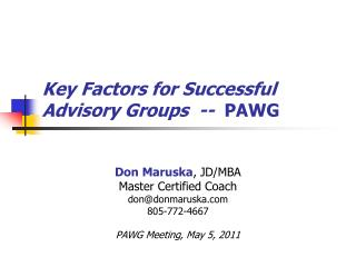Key Factors for Successful Advisory Groups  --   PAWG