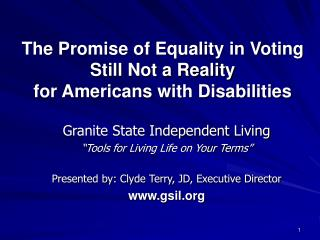 The Promise of Equality in Voting  Still Not a Reality  for Americans with Disabilities