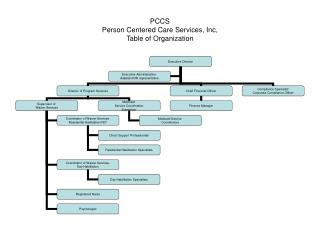 PCCS Person Centered Care Services, Inc, Table of Organization