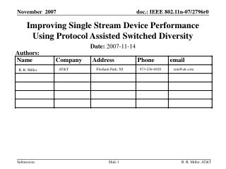 Improving Single Stream Device Performance Using Protocol Assisted Switched Diversity