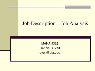 Job Description – Job Analysis