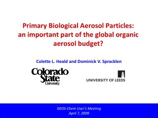 Primary Biological Aerosol Particles:  an important part of the global organic aerosol budget?