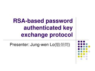 RSA-based password authenticated key exchange protocol