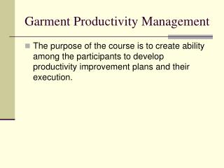 Garment Productivity Management