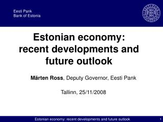 Estonian economy: recent developments and future outlook