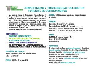COMPETITIVIDAD Y  SOSTENIBILIDAD  DEL SECTOR FORESTAL EN CENTROAMERICA