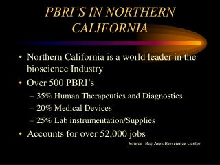 PBRI'S IN NORTHERN CALIFORNIA