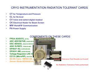 CRYO INSTRUMENTATION RADIATION TOLERANT CARDS
