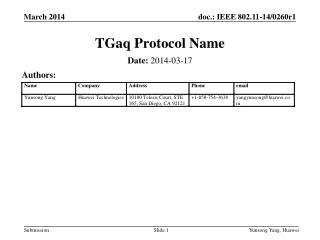 TGaq Protocol Name