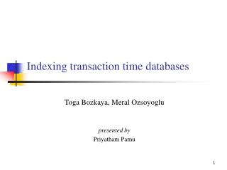 Indexing transaction time databases