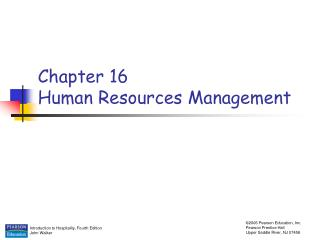 Chapter 16 Human Resources Management