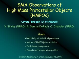 SMA Observations of  High Mass Protostellar Objects (HMPOs)