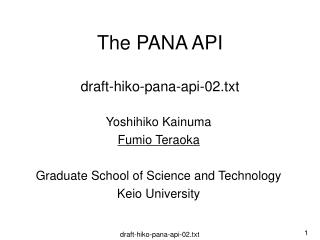 The PANA API draft-hiko-pana-api-02.txt