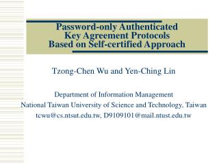 Password-only Authenticated  Key Agreement Protocols  Based on Self-certified Approach