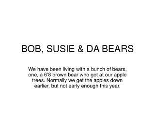 BOB, SUSIE & DA BEARS