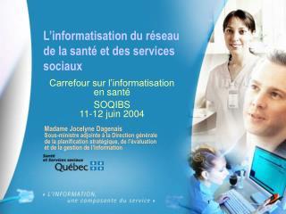 L'informatisation du réseau de la santé et des services sociaux