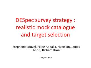 DESpec survey strategy : realistic mock catalogue and target selection