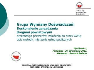 Grupa Wymiany Doświadczeń:  Doskonalenie zarządzania