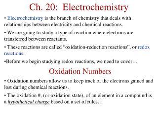 Ch. 20:  Electrochemistry