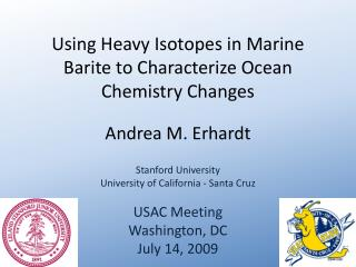 Using Heavy Isotopes in Marine Barite to Characterize Ocean Chemistry Changes