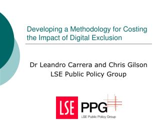 Developing a Methodology for Costing the Impact of Digital Exclusion