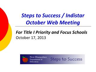 Steps to Success / Indistar October Web Meeting