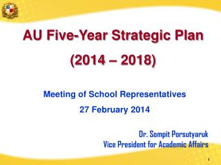 AU Five-Year Strategic Plan (2014 – 2018)