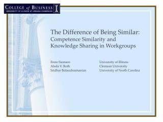 The Difference of Being Similar:  Competence Similarity and Knowledge Sharing in Workgroups