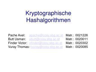 Kryptographische Hashalgorithmen