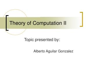 Theory of Computation II