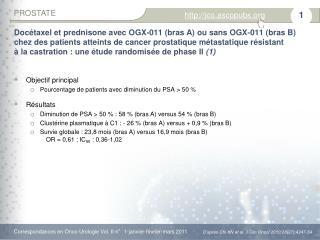 Objectif principal  Pourcentage de patients avec diminution du PSA > 50 % Résultats