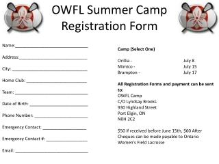 OWFL Summer Camp Registration Form