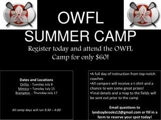OWFL  SUMMER CAMP