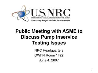 Public Meeting with ASME to Discuss Pump Inservice Testing Issues