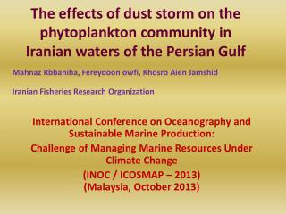 The effects of dust storm on the phytoplankton community in Iranian waters of the Persian Gulf