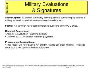 Military Evaluations  & Signatures