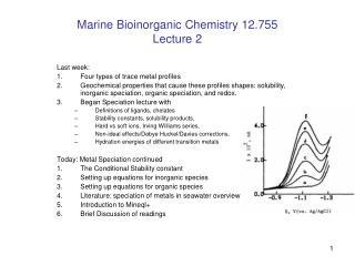 Marine Bioinorganic Chemistry 12.755  Lecture 2