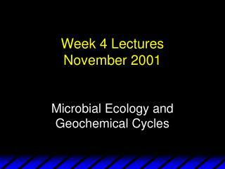 Week 4 Lectures November 2001