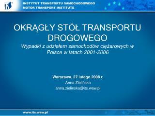 Warszawa, 27 lutego 2008 r.  Anna Zielińska  anna.zielinska@its.waw.pl