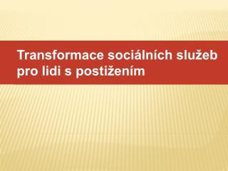 Transformace sociálních služeb pro lidi s postižením