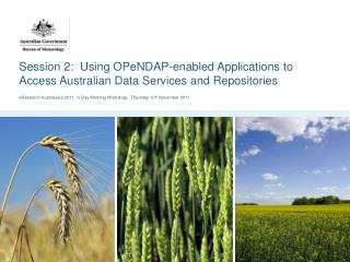 Session 2:  Using OPeNDAP-enabled Applications to Access Australian Data Services and Repositories