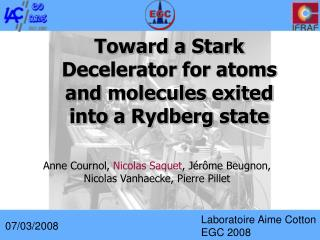 Toward a Stark Decelerator for atoms and molecules exited into a Rydberg state