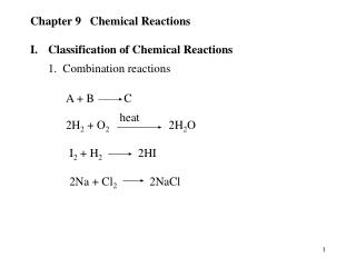 Chapter 9   Chemical Reactions I.	Classification of Chemical Reactions